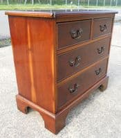 SOLD - Small, Yew Wood Chest of Drawers